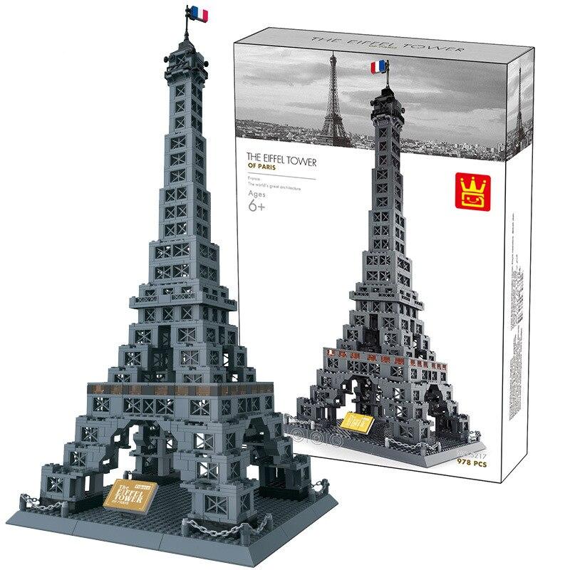 Miniature moderne bâtiments de renommée mondiale modèle blocs empilables Taj Mahal tour Eiffel Arc de Triomphe modèle de bureau briques jouets - 5
