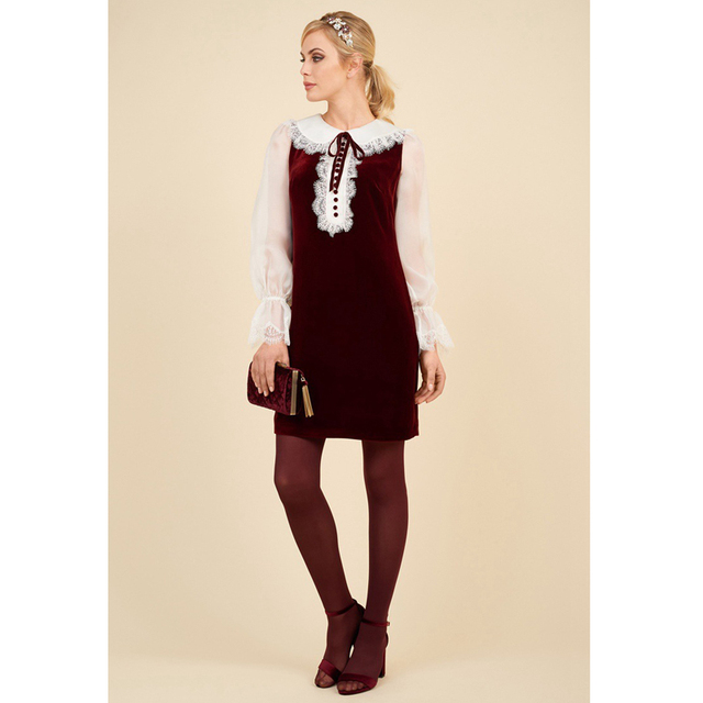 9631065c8be2 new arrival autumn 2017 white lace patchwork wine red women velvet dress  peter pan collar lace up button long sleeve short dress
