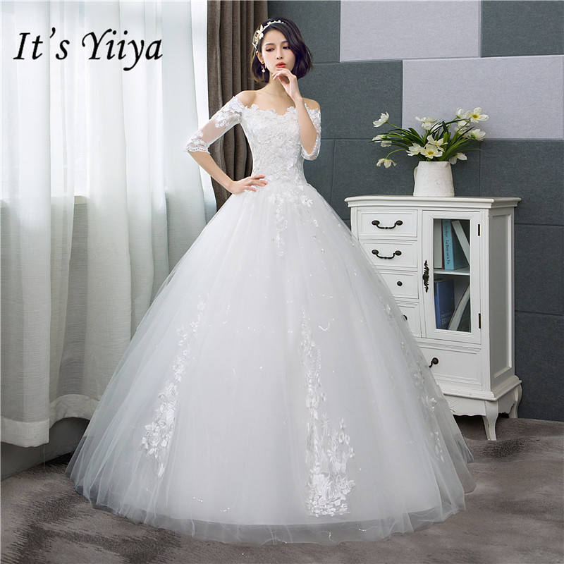 It's YiiYa Wedding Dress Fashion Half Sleeve Wedding Gowns