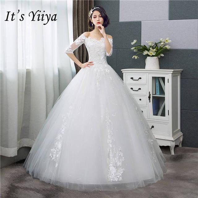 a94ee9838af8f It's YiiYa Wedding Dress Fashion Half Sleeve Wedding Gowns Simple Off White  Embroidery Cheap Wedding Gown De Novia HS287
