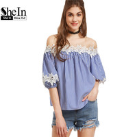 SheIn Women Blouses Women S Fashion 2017 Tops Blue Vertical Striped Off The Shoulder Half Sleeve