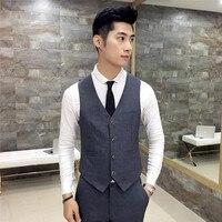دعوى ma3 jia3 أحدث تصميم الرجال صدرية رمادية الرقبة الدعاوى العريس البدلات الرسمية الزفاف سترة مخصص الرسمية صدرية سترة