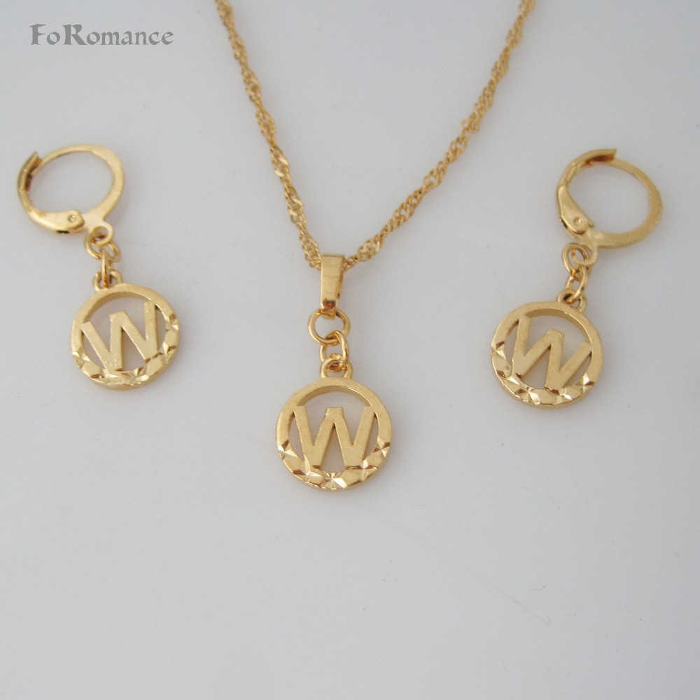 "FoRomance- HIGH QUALITY GOLD GP 26 LETTERS INITIALS FROM U TO  Z CIRCLE STAR CARVED PENDANT 18"" WATER WAVE NECKLACE EARRING SET"