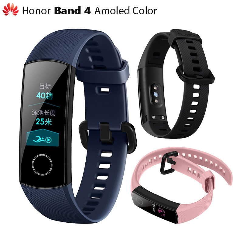 "Original Huawei Honor Band 4 Smart Wristband Amoled Color 0.95"" Touchscreen Swim Posture Detect Heart Rate Sleep Snap(China)"