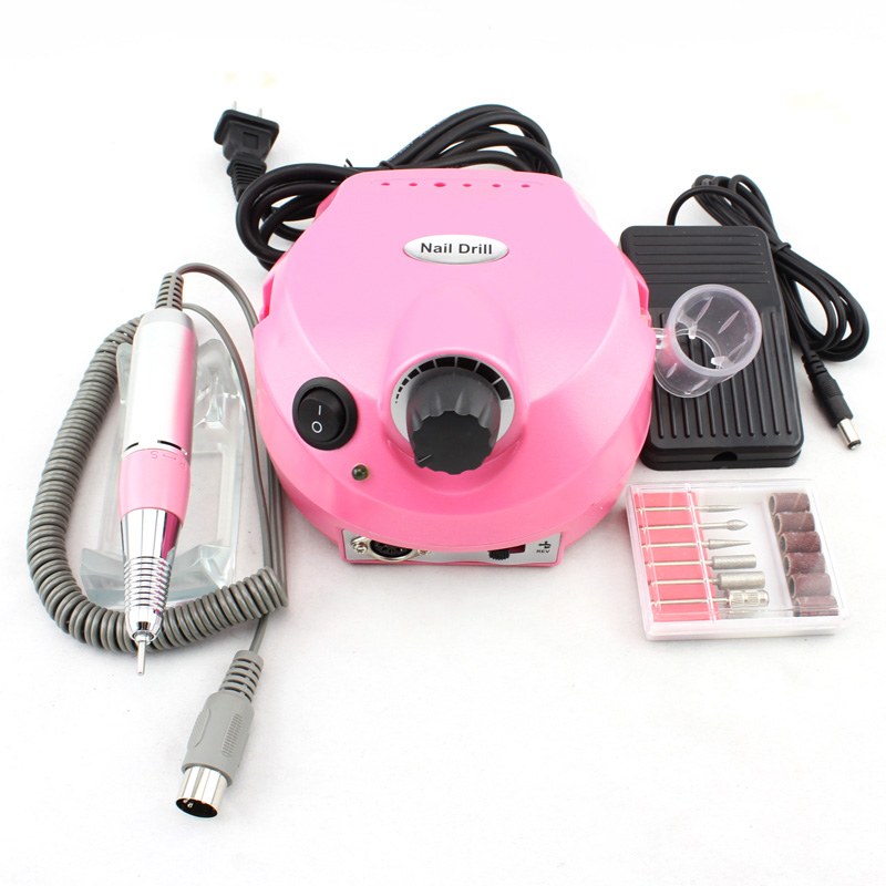 Free Shipping 2014 OPHIR Professional Nail Tools Pink Electric Manicure Drills Kits, Nail Drill Machine #KD143P(110V&220V) excellet value 1 pc blue medium 3 32 white ceramic nail drill bit manicure professional electric manicure cutter nail tools