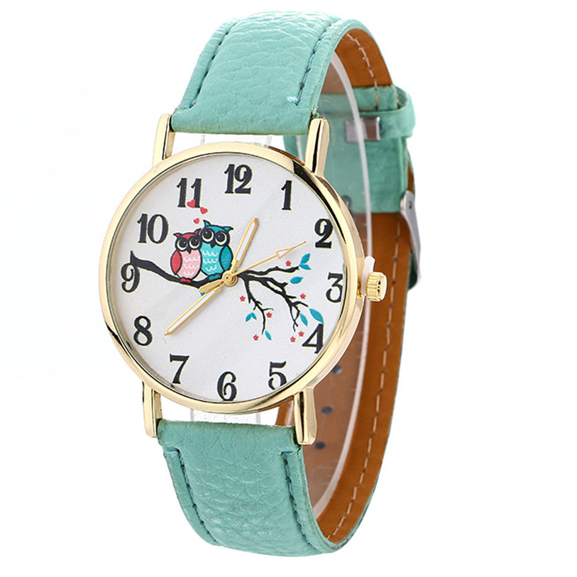 Hot SellingWomen Watch Cute Owl Pattern Neutral Fashion Leather Quartz Wrist Watch Drop  ...