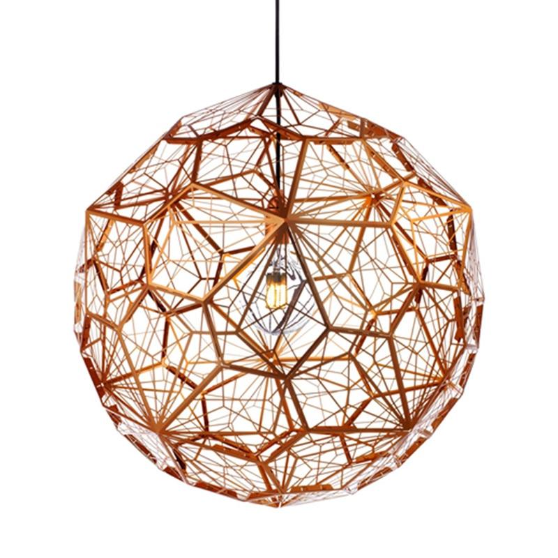 Modern Gold Copper Silver Etch Web Pendant Lights Tom Dixon Stainless Steel Diamond Polygon Pendant Lamp for Living Room цена 2017