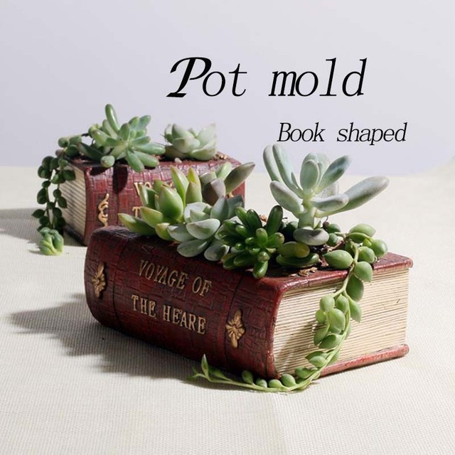 Flower Pot moulds Book shaped silicon vase molds DIY craft homemade clay molds