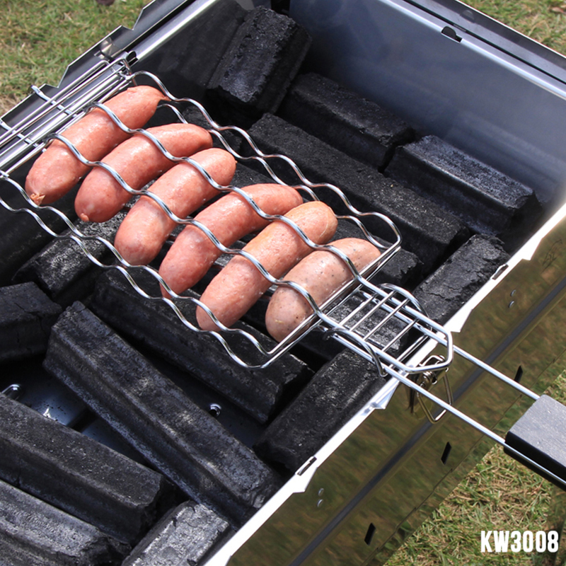 New BBQ Barbecue Sausage Grilling Basket Hot Dog Rack Metal Mesh Baskets Grill Rack Barbecue Baskets Great grill for 6 hot dogs