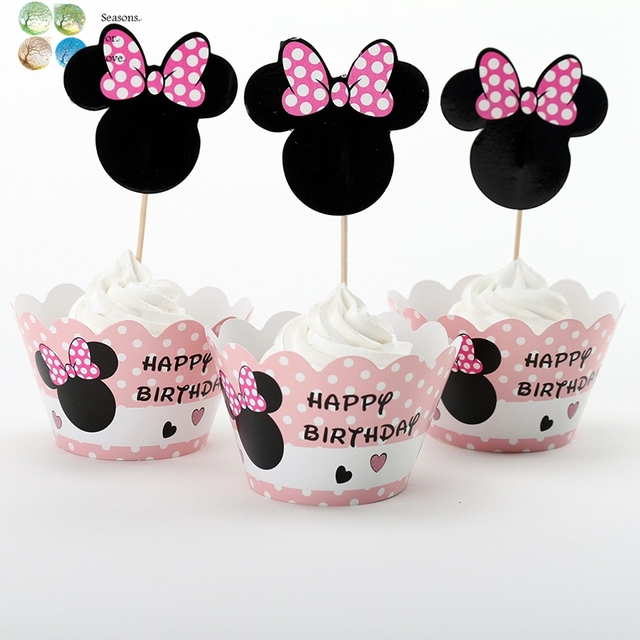12pcs Girl Mouse Cute Minnie Pink Cupcake Wrappers Birthday Party Decoration Kids Supplies Favors Souvenirs