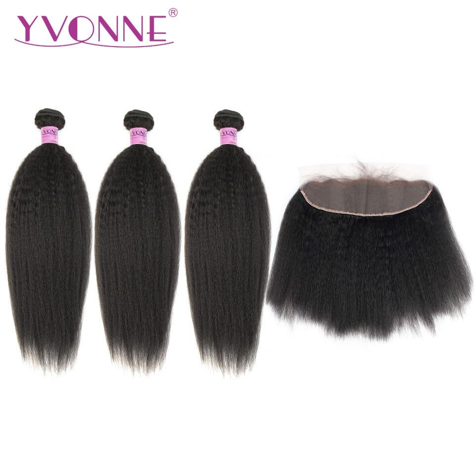 Yvonne Crépus Cheveux Raides Bundles Avec Frontale 3 pcs Vierge de Cheveux Humains Bundles Avec Frontale 13*4 Naturel Couleur