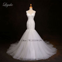 Lavish Tulle Scoop Mermaid Wedding Dress Half Sleeves Illusion Back Appliques Lace Court Train Trumpet Bridal
