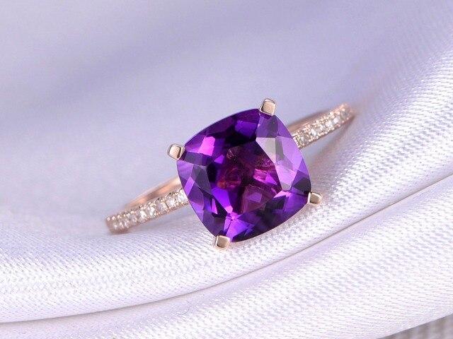 MYRAY 14k Rose Gold 8x8mm Cushion Natural Purple Amethyst Crystal Stone Ring Engagement Vintage Rings Diamond Band for Women Men