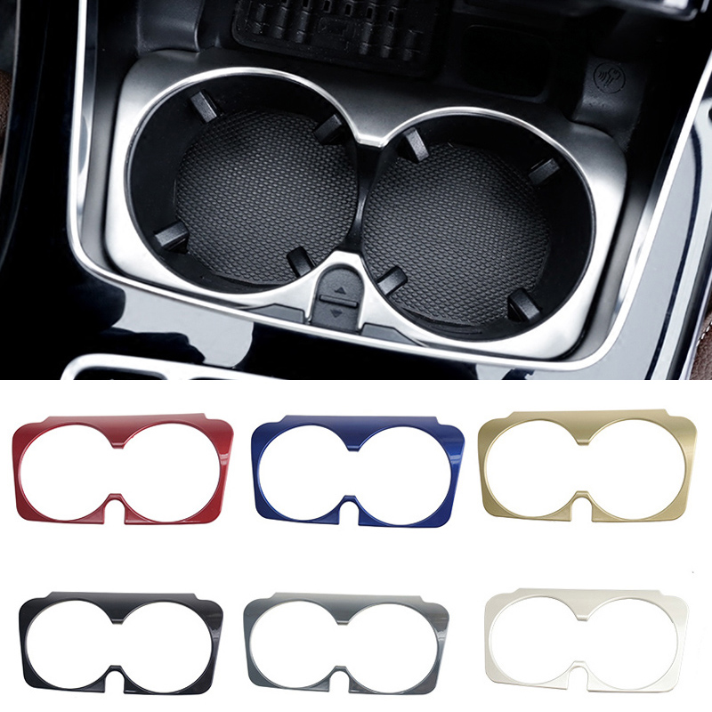 Car Styling Water Cup Holder Frame Trim Covers Stickers For Mercedes Benz GLC C E Class W205 W213 X253 interior Auto Accessories