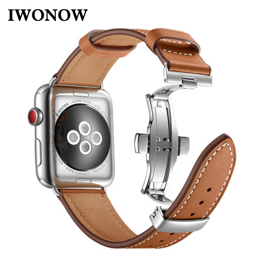 Genuine Cow Leather Watchband For IWatch Apple Watch Series 5 4 3 2 1 38mm 40mm 42mm 44mm Replacement Band Strap Wrist Bracelet