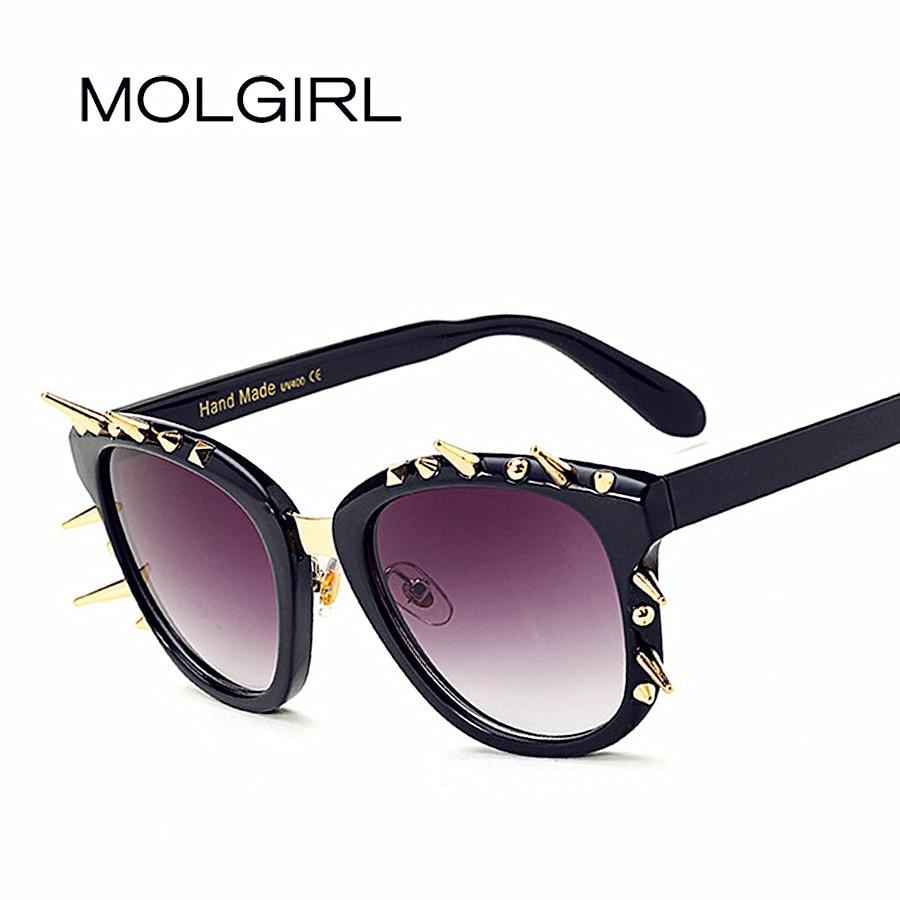 MOLGIRL 2017 New Cat Eye lunettes de Soleil Femmes Marque Designer Vintage M nail Lunettes Mode Lunettes de Soleil Oculos De Sol Feminino