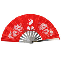 New Chinese Kung Fu Fan Martial Arts Tai Chi Stainless Steel Fan Dragon Red Free Shipping
