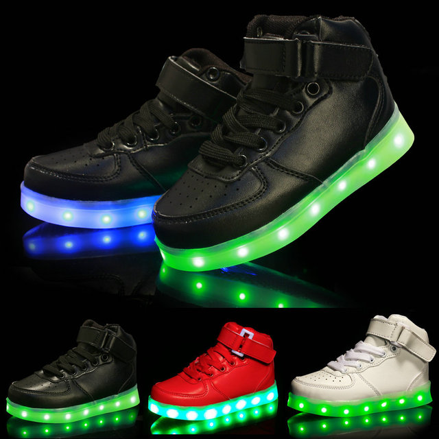 f5521546aae896 Kids LED Luminous Sneakers 2018 New Fashion High-top USB Rechargeable Boys  Sports Shoes Hot Girls Colorful Flashing Lights Shoe