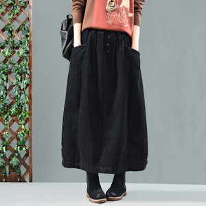 Image 4 - Kadınlar Katı Renk Elastik Bel Gevşek Kadife Retro Etek Bayanlar Vintage Sonbahar Kış Etekler 2019 Cepler Kadın Etekler