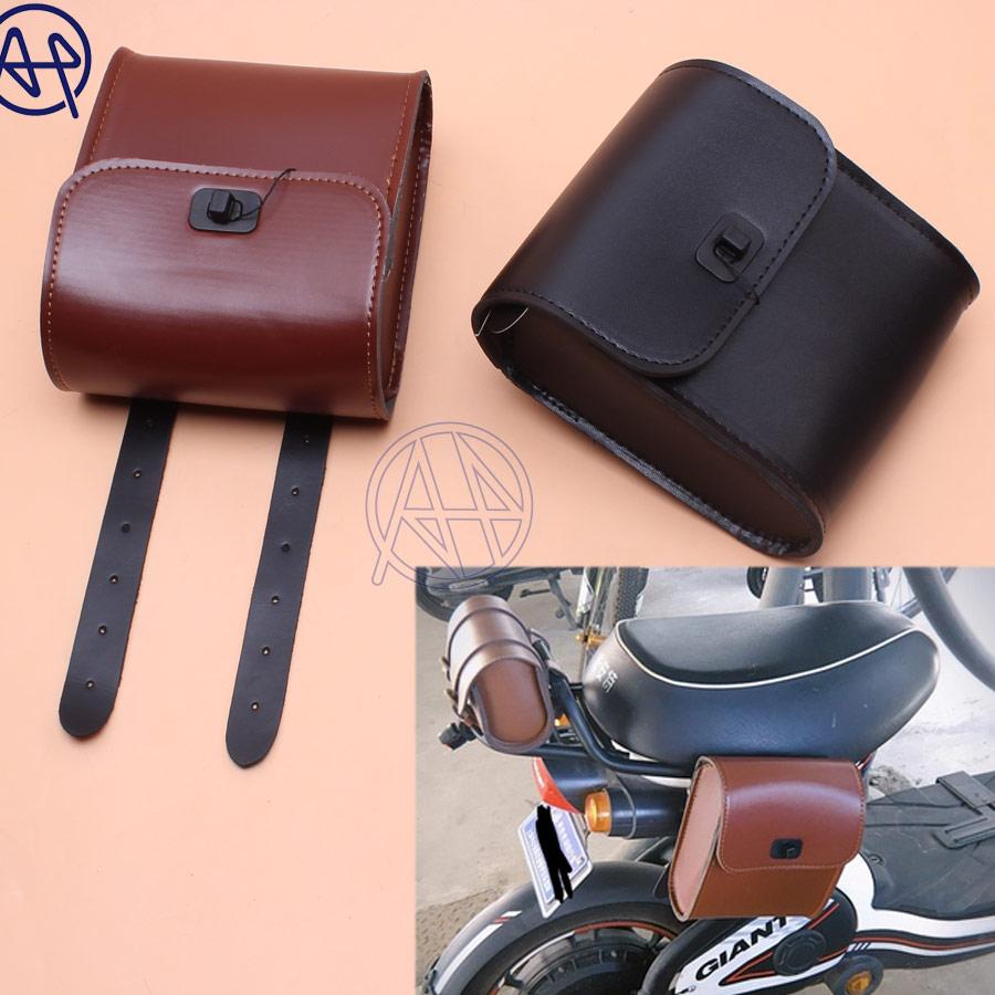 Universal For Honda Yamaha Suzuki  1pc Black/Brown PU Leather Saddle Bag Motorcycle Luggage Side Saddle Bag Rider Motorbike