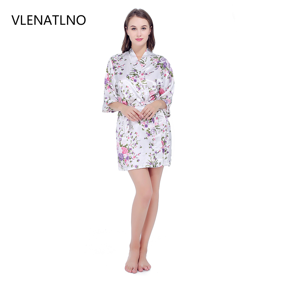 VLENATLNO Short Robe Sexy Satin Night Robe Lace Bathrobe Perfect Wedding Bride Bridesmaid Robes Dressing Gown For Women