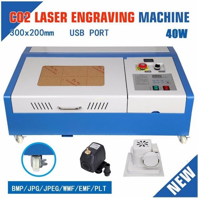 Hot Sale 110/220V 40W 200*300mm Portable CO2 Laser Engraver Cutter Engraving Machine 3020 Laser Cutting Machine With USB Sport