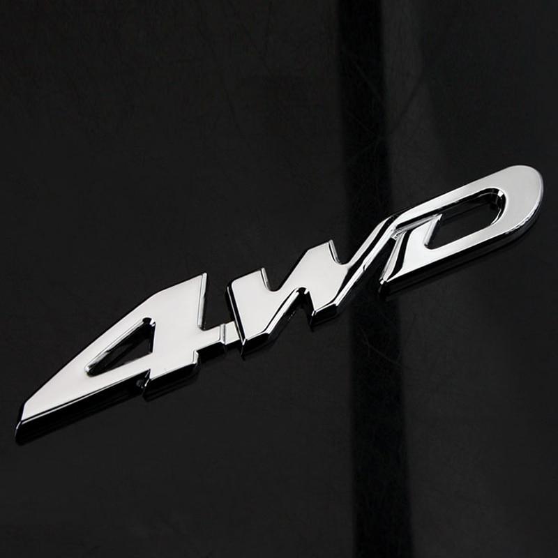 Silver 4x4 4 wheel drive Metal Chrome Racing Emblem Badge Decal Sticker Car Logo