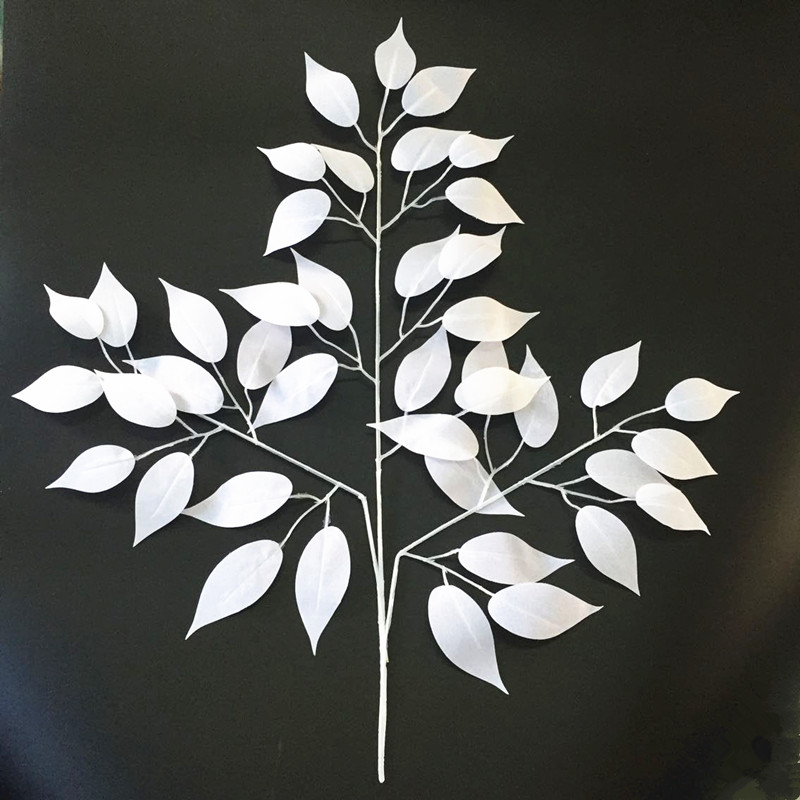 Decor flower white silk artificial leaves home decoration for Artificial leaves for decoration
