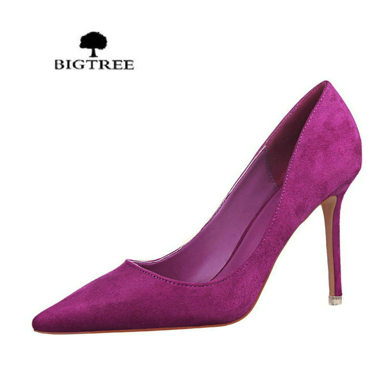 2017 New Women Pumps Classics High Heels Shoes Fashion Suede Flock Purple Sexy Slim Pointed OL Office Singles Heeled Shoes lakeshi new fashion pumps thin sexy high heeled shoes woman pointed suede hollow out bowknot sweet elegant women shoes