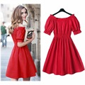 New 2017 Autumn summer Women cotton party dress short Sleeve Casual plus size sexy lantern sleeve female dresses Vestidos C0988