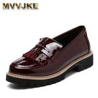 MVVJKE 2017 New British Style Genuine Leather Tassel Round Toe Fashion Retro Casual Women Flats Shoes
