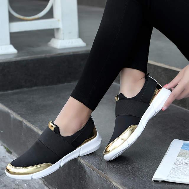 18eb0681042 Online Shop 2018 Women Casual Shoes Female Platform Shoes Slip On Women  Flat Tenis Casual Ladies Shoes Flats Silver Sneakers Size 35-42