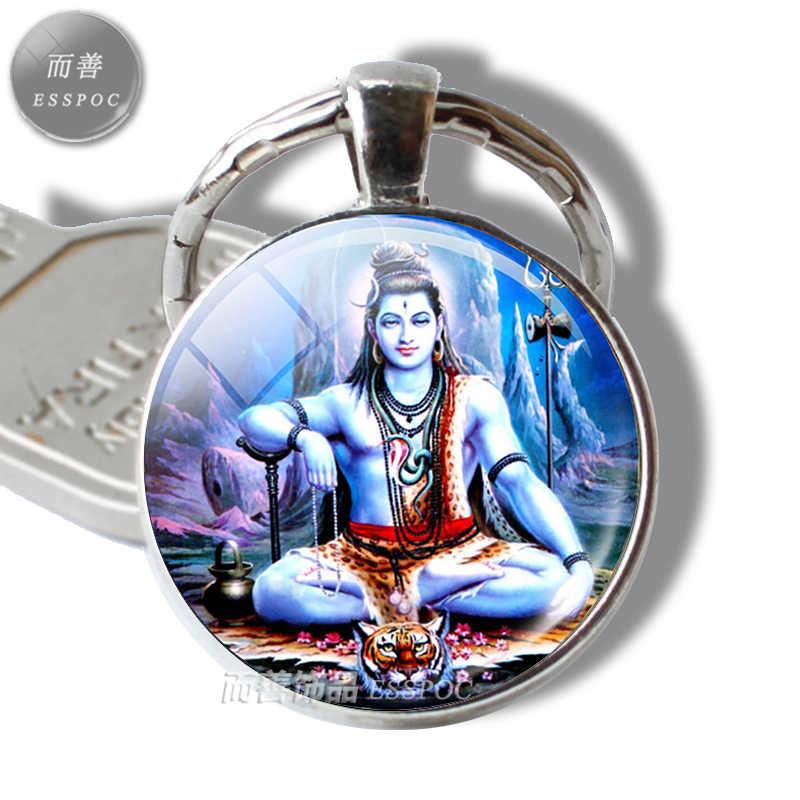 Krishna и Radha стеклянный подвесной брелок серебряные металлические брелки Йога бижутерия амулет кулон для мужчин женщин амулет ювелирные изделия