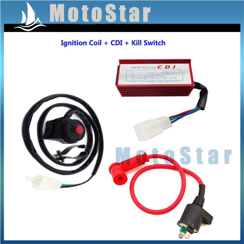 Red Racing Ignition Coil 5 Pin AC CDI Kill Switch For 50cc 70cc 90cc 110cc 125cc 140cc 150cc Pit Dirt Bike