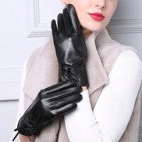 Europe Womens Fashion Plus Velvet 100% Sheepskin Genuine Leather Touch Gloves Ladies Thick Warm Fleece Mittens Wholesale Skates
