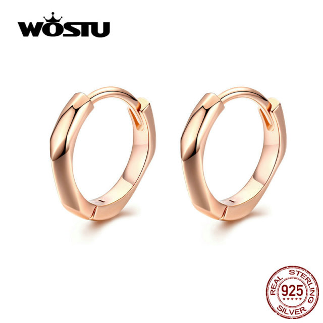 857c3ed9a1a86 US $4.99 25% OFF|WOSTU 2019 Rose Gold Hoop Earrings 925 Sterling Silver  Small Clip Earrings For Women Wedding Original Silver 925 Jewelry CTE119-in  ...