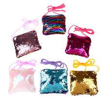 1PC Sequins Color Change Coin Purse Handbags Children Mini Clutch Bag Kids Girls Crossbody Shoulder Bags Baby Messenger Gift