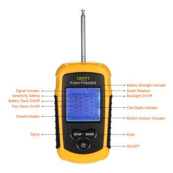 FFW1108-1 Wireless Fish Finder 0.7-40M echo sounder Sonar Sensor Transducer Depth Sounder Fishing Finder Alarm Fish Detector