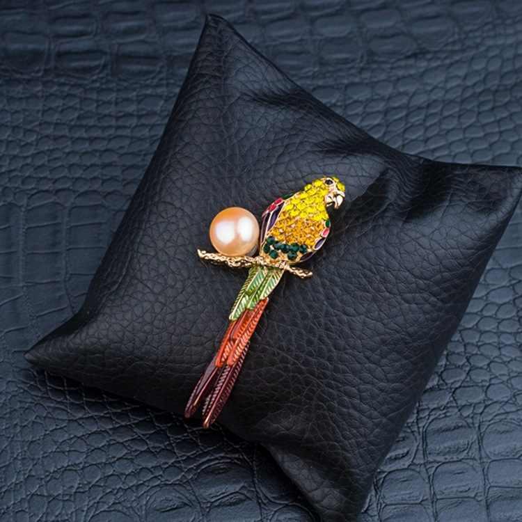 ALW Tembaga Enamel Glasir Mutiara Alam Broochs Kristal Untuk Wanita Bayan Pin Mantel Juga Liontin Perempuan Bros Fashion Perhiasan 2016