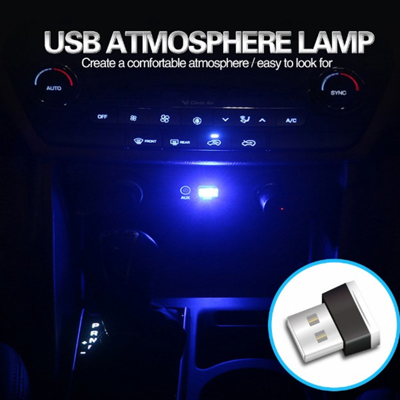 Mini LED Car Light USB Atmosphere Lights Decorative Lamp Emergency Lighting Universal PC Portable Plug and Play Red/Blue/White