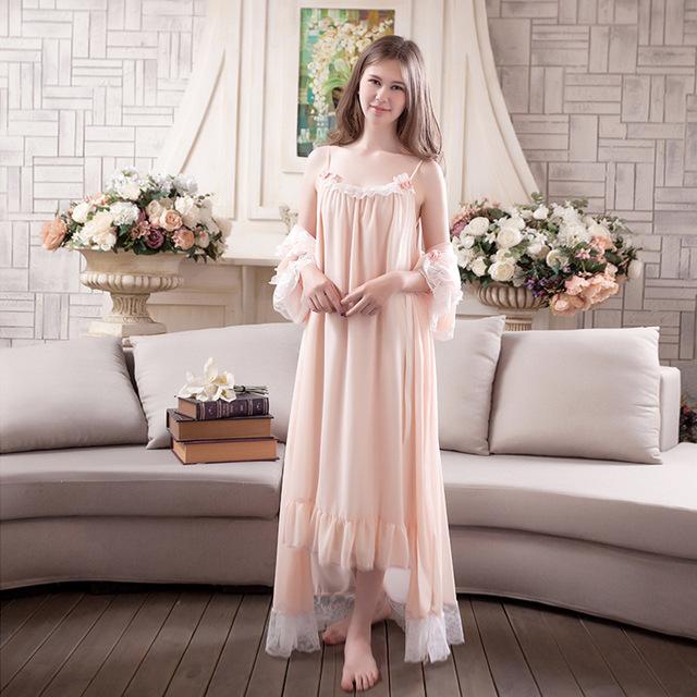 Mulheres 2 Peças Doce Princesa Casa Dormindo Vestido Luva Longa Das Mulheres Do Vintage Elegante Rendas Nightdress Nightgowns Chiffon Coreano