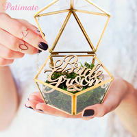 PATIMATE Personalized Pentagon Glass Wedding Ring Box For Jewelry Wedding Decoration Mariage Party Decor Engagement Box Decor