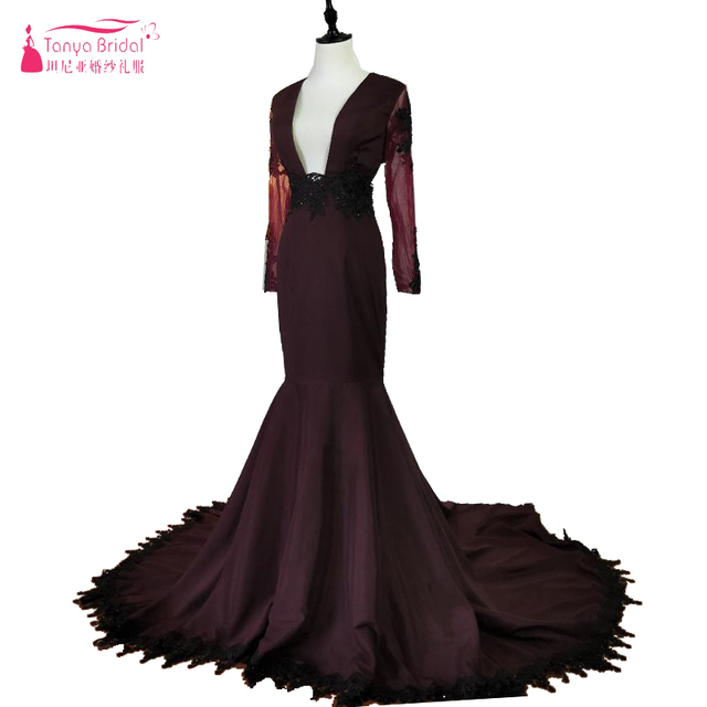 e2e475d31a3b0 US $142.5 5% OFF|Sexy Burgundy Grape Mermaid Prom Dresses 2018 Black  Appliqued Long Sleeves Plunging V Neck Black Girls African Gowns Evening-in  ...