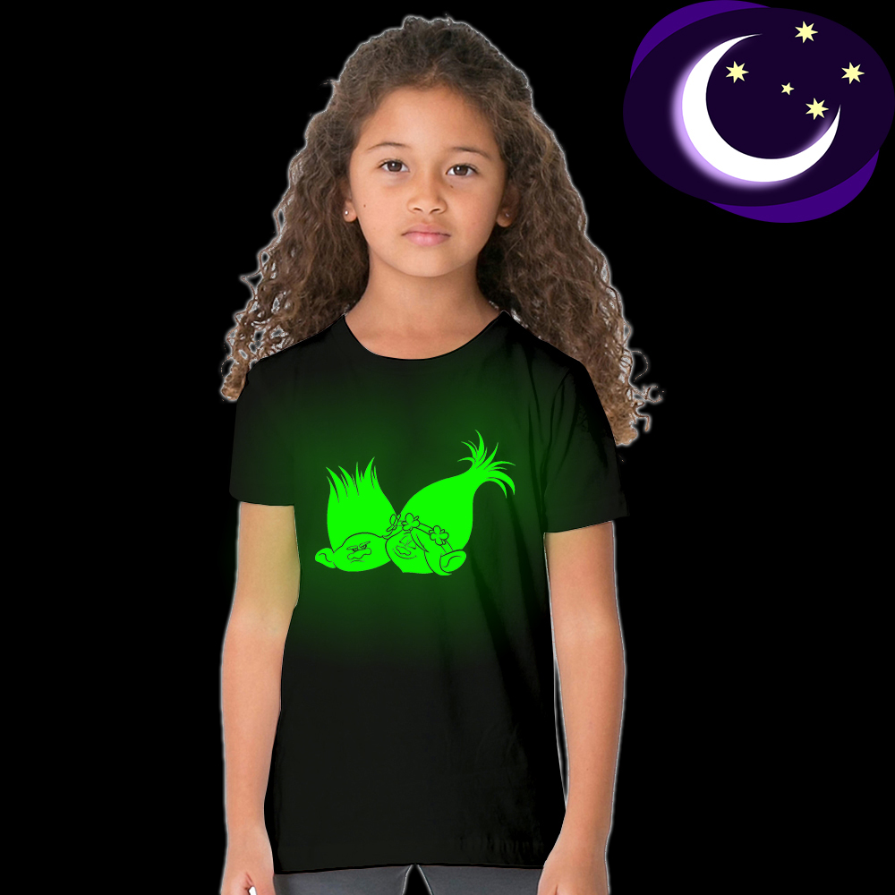 Luminous Glow In Dark Trolls Girl T-shirt for 3-10yrs Toddler Girl Boys Trolls T Shirt Cartoon Kid Black T-shirt Summer Clothes