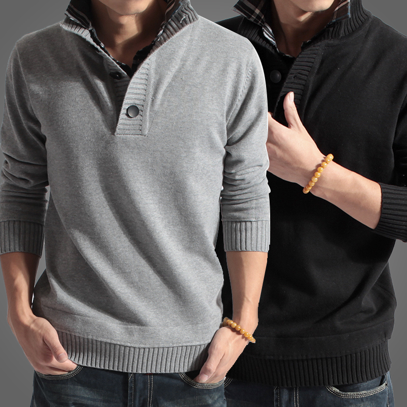 4fe4f180192 Shirt collar sweater for men casual brand clothes christmas sweater  thickening outerwear sweater men s coats 2013 D047-in Pullovers from Men s  Clothing on ...