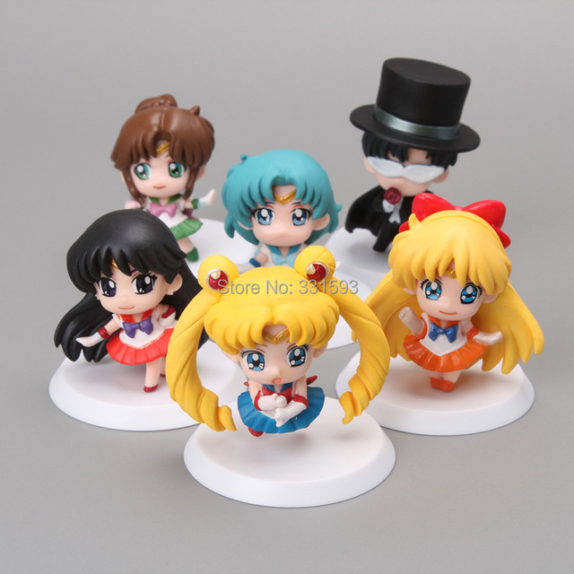 Free Shipping Anime Cartoon Sailor Moon Mars Jupiter Venus Mercury Q Version PVC Action Figure Model Toys Dolls 6pcs/set SMFG010