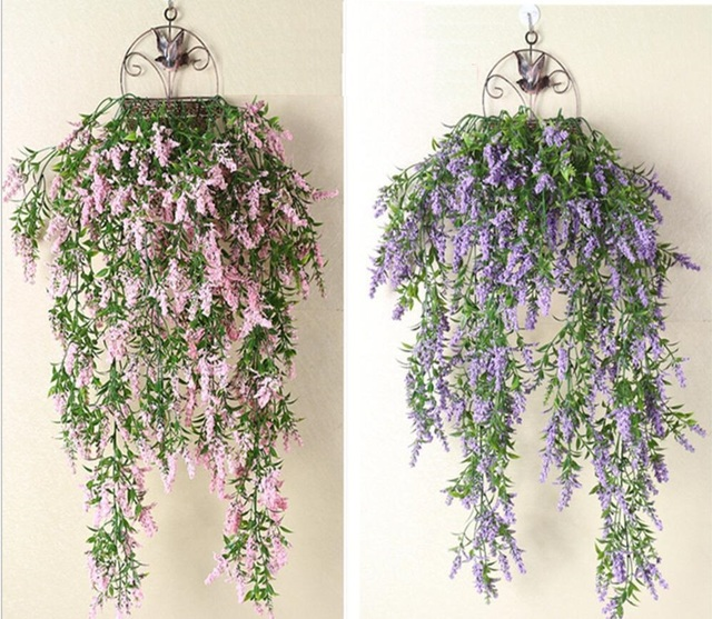 2pcs hanging artificial lavender flower wall ivy garland vine
