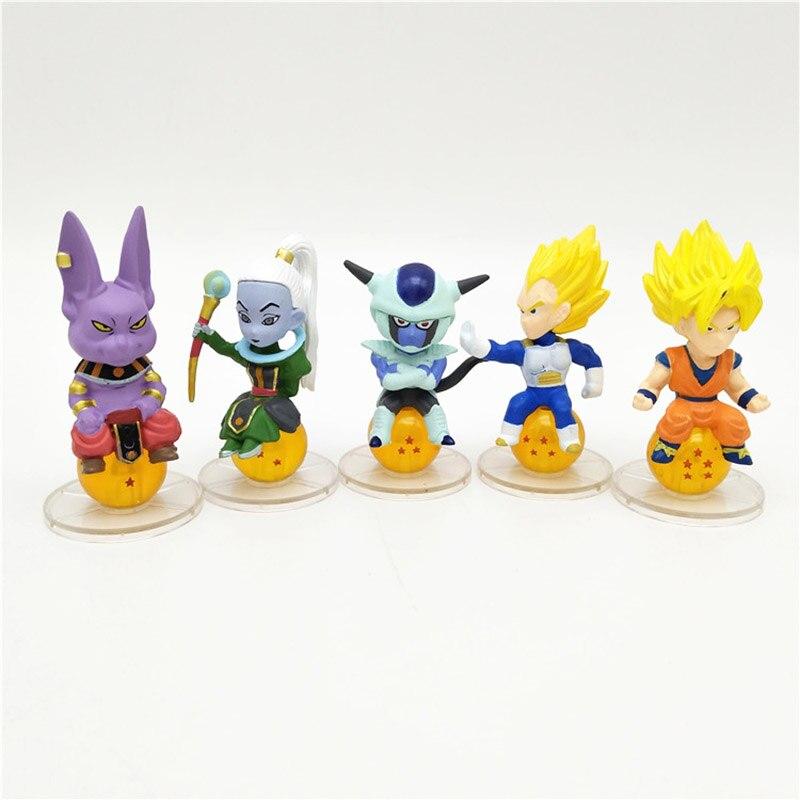 Dragon Ball SUPER Super Saiyan Son Goku Vegeta Champa Frieza Vados Action Figure Sitting on Dragon Ball Toys 5pcs/set 4-6cm