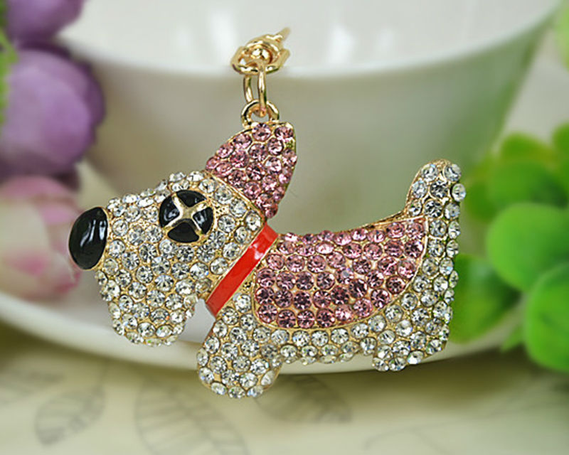 XD Dog Keyring Rings Fashion Jewelry Women Bag Crystal Rhinestone Charm Pendant Bag KeyChain Valentine Gift