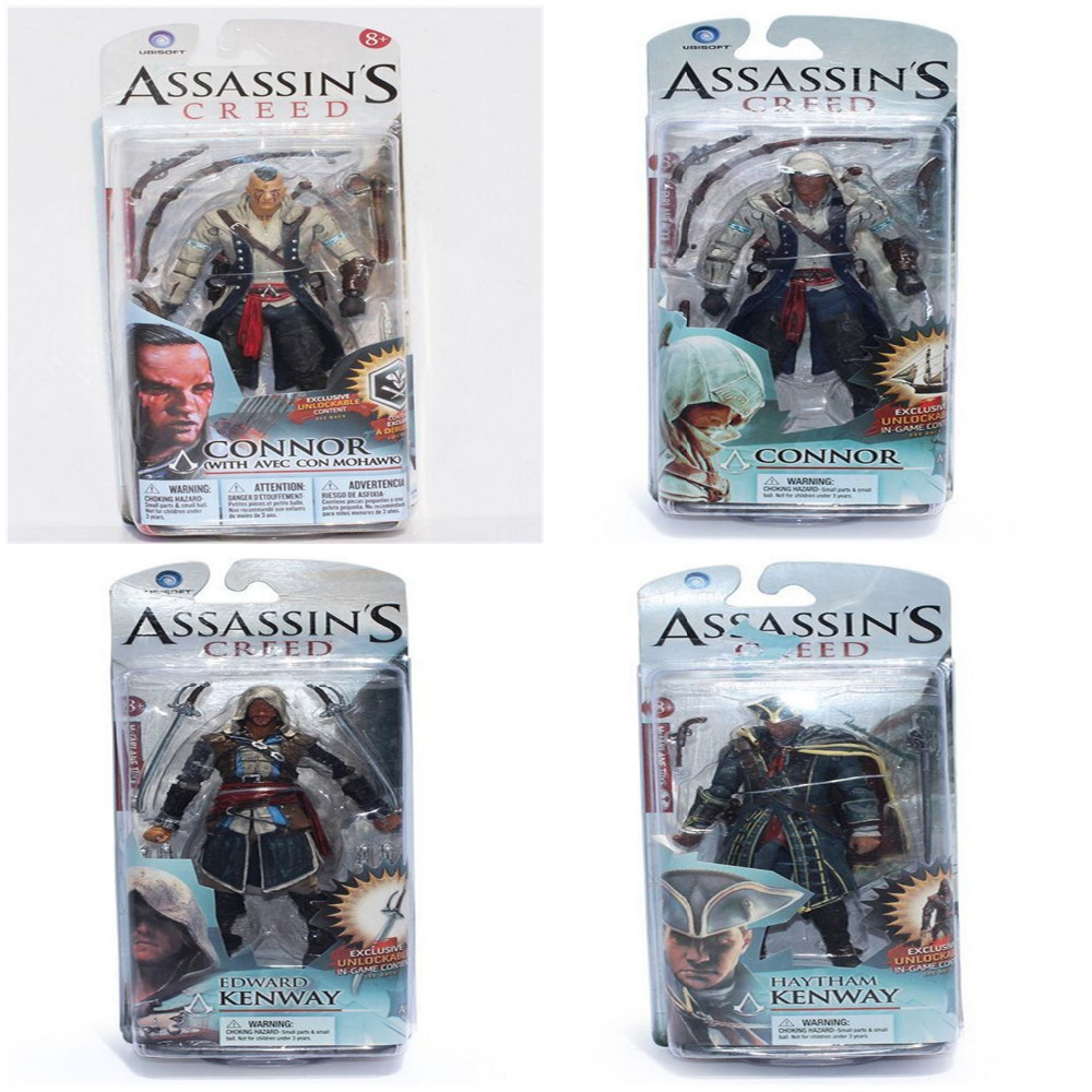 4 Styles Neca Toys Assassins Creed 4 Black Flag PVC Action Figures Toys Edward Kenway Etc Collection Model Free Shipping lps pet shop toys rare black little cat blue eyes animal models patrulla canina action figures kids toys gift cat free shipping